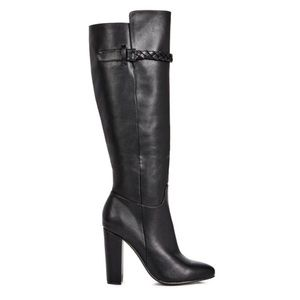 Zandra Tall Black Boots with Block Heel